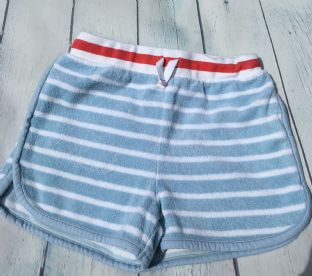 Johnnie B age 7 (fits age 6-7) towelling pale blue and white striped shorts